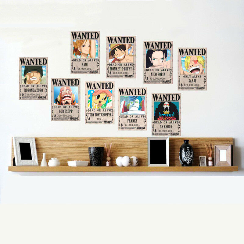 10 Pcs One Piece Wanted Poster Anime Straw Hat Pirates Shanks Ace Poster Set