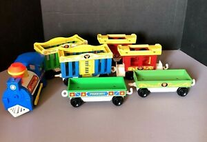 Vintage-1973-Fisher-Price-Little-People-Circus-7-Piece-Train-991