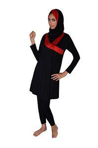 Details zu Ganzkörper islamischer Badeanzug im Burkini Stil muslimischer Schwimmanzug Hijab