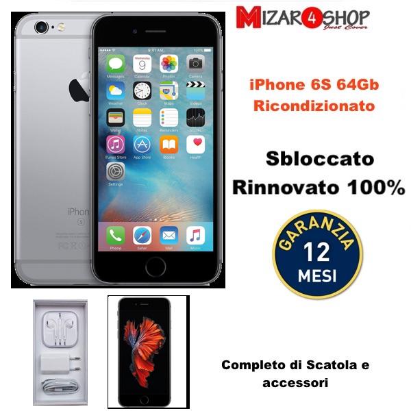 APPLE IPHONE 6S 64GB RICONDIZIONATO GRADO B RIGENERATO SCATOLA E ACCESSORI