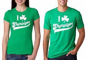 St Patrick S Day I Love Shenanigans Couple T Shirts Funny Patricks T
