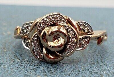 Disney 10k Rosa Oro Belle Rosa De Diamantes Anillo Tamaño 7 Zales Ebay