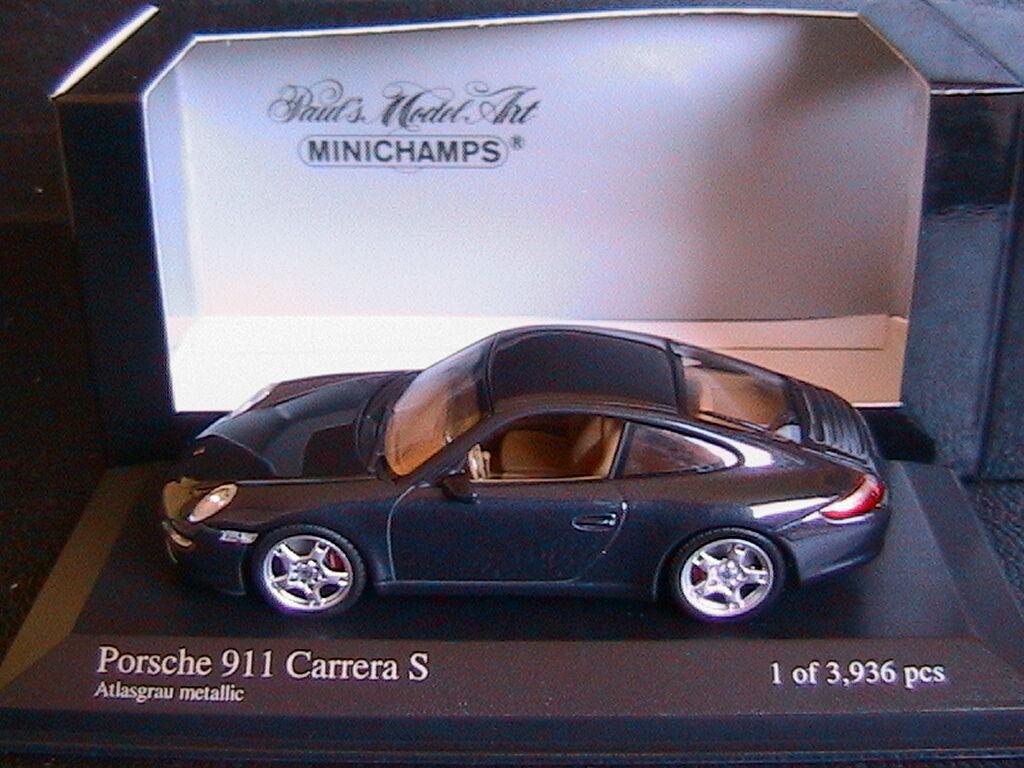 PORSCHE 911 CARRERA S 2004 ATLASGRAU METALLIC MINICHAMPS 400063021 1/43 BLUE
