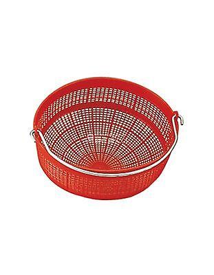 Cestello colamosto in plastica rossa con manico in ferro diametro 27 cm