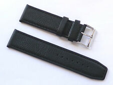 Quality Lug 22mm Black Genuine Leather Strap Silver Buckle