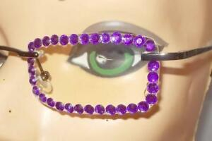 GLORIOUS-PURPLE-AMETHYST-RHINESTONE-AB-RIMLESS-READING-GLASSES-2-50-STRENGTH