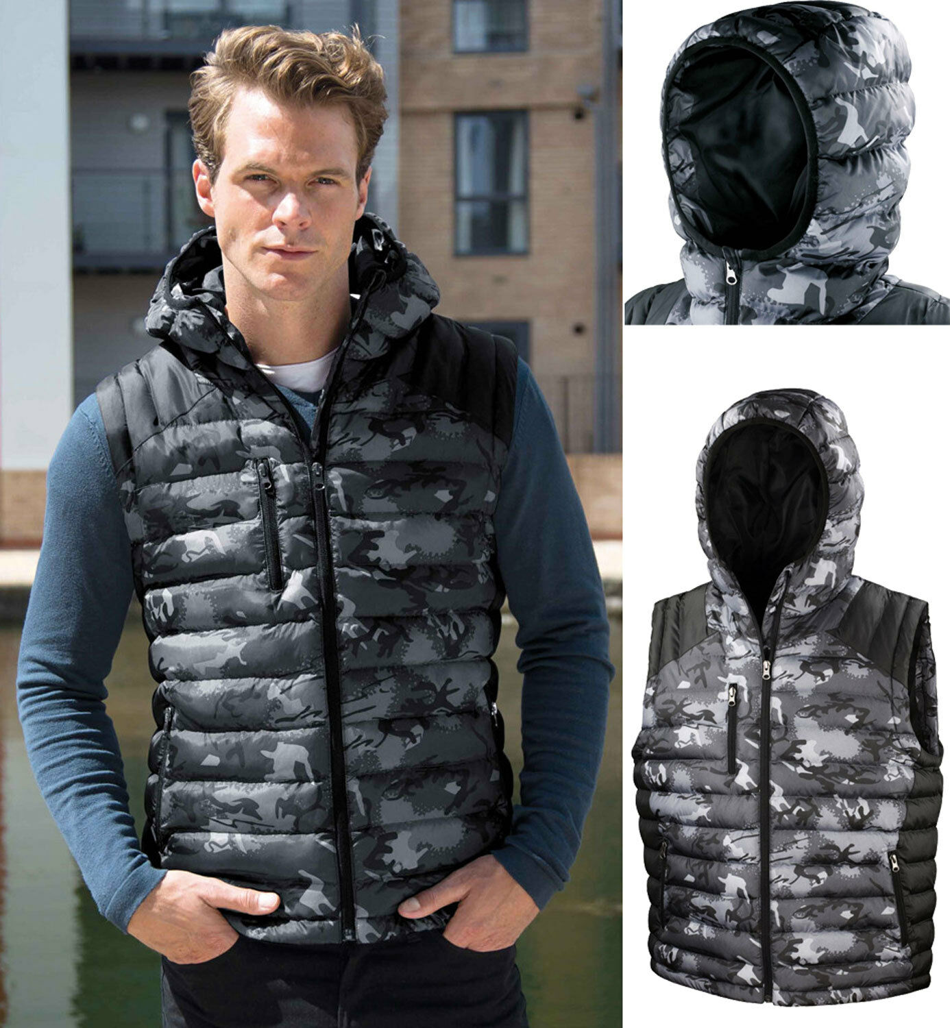 Result Camo Camouflage Hooded Padded Quilted Body Warmer Sleeveless Gilet XS-3XL