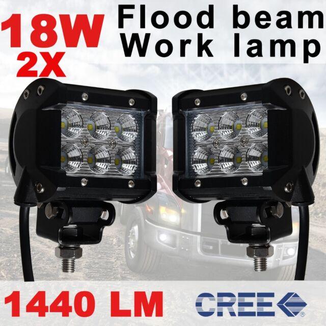 "2x 4"" 18W CREE LED Work Light Bar Flood Driving Lamp Off Road 4WD Boat Jeep ATV"