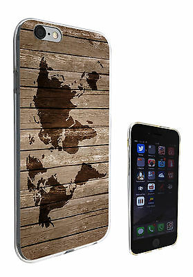 596 World Map Wood Look Gel Case Cover For iphone 6 6S/ 6 plus iphone 4 5 5C