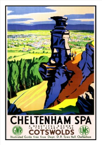 Cheltenham Spa Adventure Travel Holiday Beautiful View Poster Cotswolds  Advert