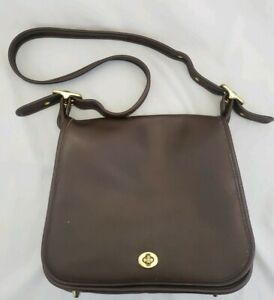 Vintage-1990s-Coach-Stewardess-Brown-Leather-Shoulder-Bag-Style-9525-EUC