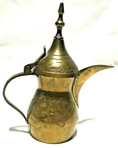 Vintage Arabic Middle Eastern Turkish Brass Coffee Dallah Teapot Grapevines