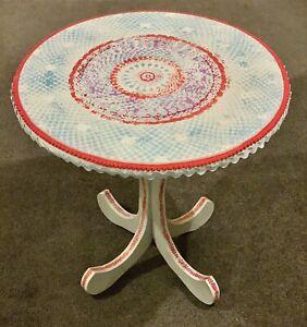 Round Side Table Distressed Pale Blue Red Ethnic Hippy Bohemian Mandala Ebay