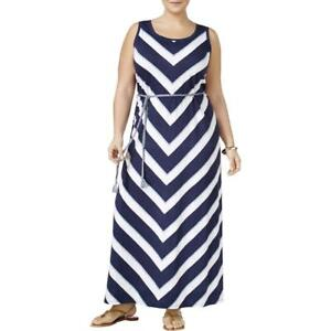 Details about Style & Co Plus Size Sleeveless Chevron Print Maxi Dress 3X  Navy #4307