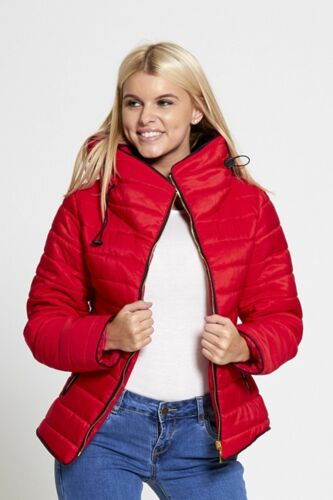 Womens Ladies Quilted Padded Puffer Bubble Fur Collar Warm Jacket Coat 8-16