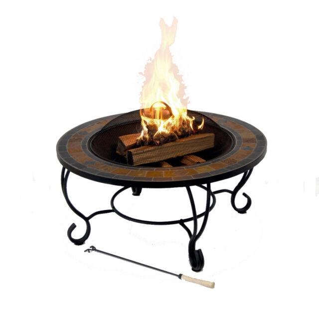 Garden Treasures 35 In Black Steel Wood Burning Fire Pit 7210