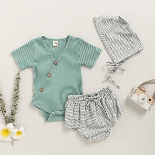 Kids Infant Baby Boys Girls Solid Bodysuit Romper+Stripe Shorts+Hat Outfits Set