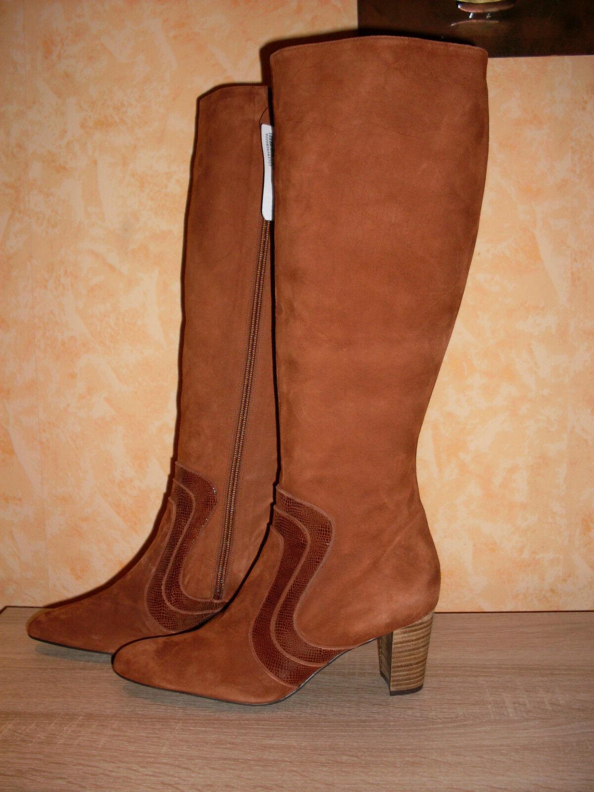 super Stiefel NEU Gr. 37 oder 41 in cognac & Veloursleder sexy edel