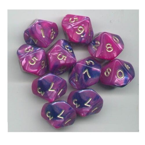 NEW RPG Dice Set of 10D10 - Toxic Blue-Pink