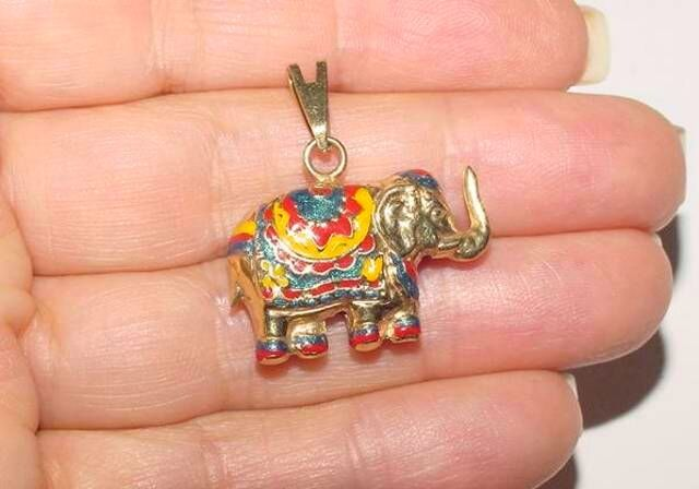 "Amazing 14K Yellow Gold Colorful Enamel Large 1""  Puffed ELEPHANT Pendant Charm"
