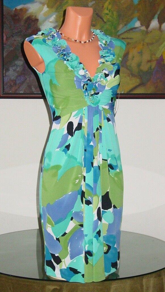 NWT Maggy London bluee Multi Floral Dress, sz 2