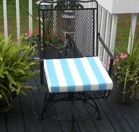 Cancun Blue White Stripe Chair Seat Cushion, Choose Size/thicknessseen In Hgtv