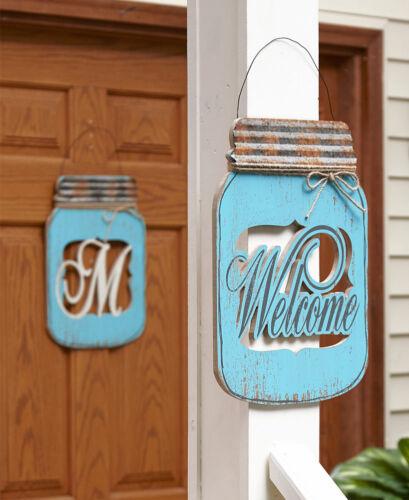 MONOGRAM Letter or WELCOME Mason Jar Door Hanger Country Rustic Distressed Decor