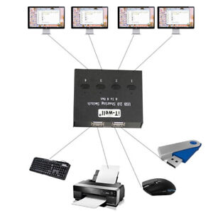 USB-Manueller-Sharing-Switch-4-Ports-HUB-KVM-Switches-fuer-PC-Scanner