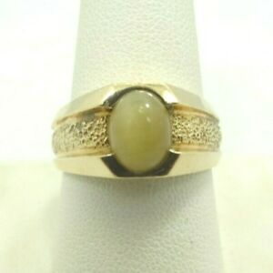 14K-Yellow-Gold-Tigers-Eye-Cabochon-Ring-Textured-Band-10mm-Sz10-7-8-Grams-D9737