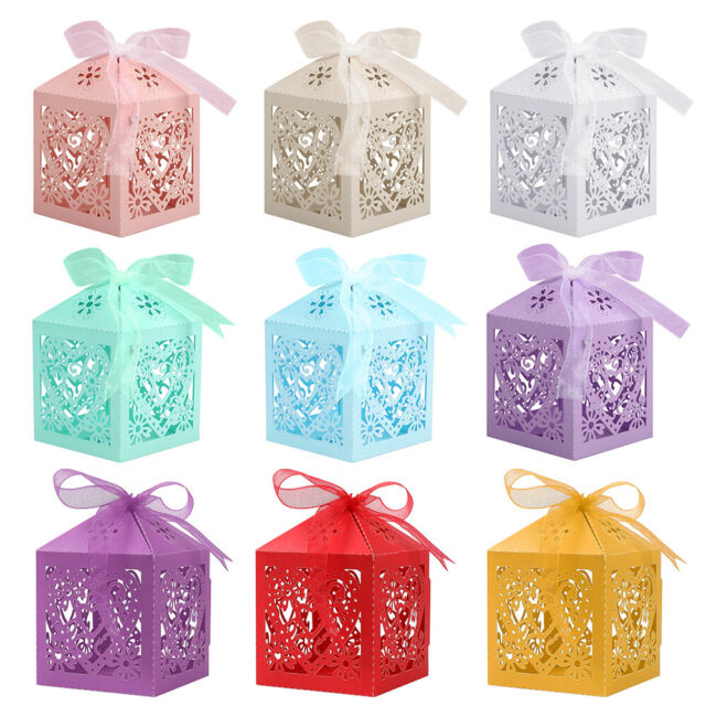 100 Pcs Sweet Love Cute Ribbon Wedding Favor Candy Boxes Gift Box For Wedding For Sale Online Ebay