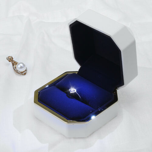 Luxury LED Ring Box With Light Wedding Jewellery Display Engagement Case Gift