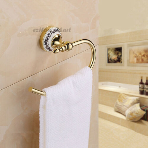 Luxury Gold Polished Brass Bathroom Towel Rail Ring Rack Hanger Hook Wall Mount