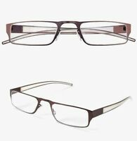 Reading Glasses Business Metal Aid With Case Elegant & Light Unisex Braun