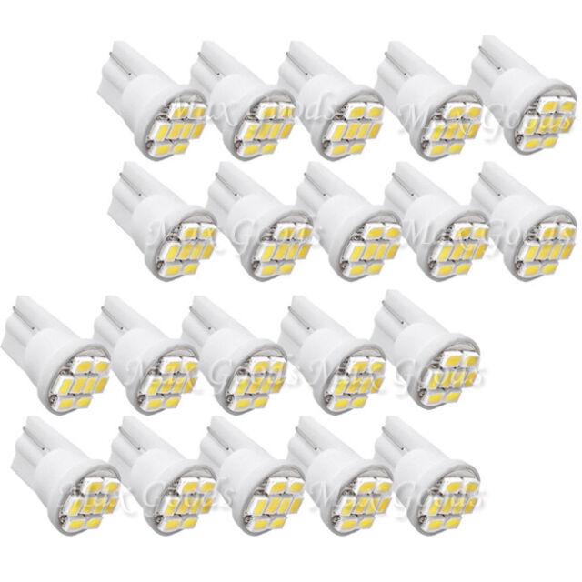 20X T10 W5W 194 168 501 Car White 8 LED 3020 SMD Wedge Side Light Bulb Lamp