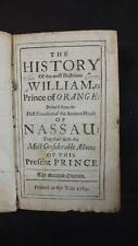 1689 HISTORY of WILLIAM, PRINCE of ORANGE, FOUNDERS of HOUSE of NASSAU, CALF