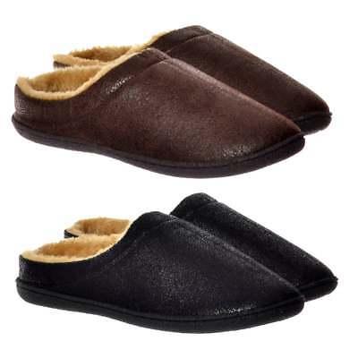 Mens Boys Luxury Warm Slip On Mule Slippers Hard Wearing Sole Leather Look Size