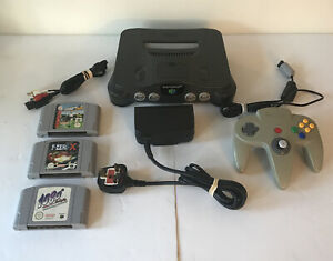 Nintendo-64-N64-Console-PAL-with-3-Game-Carts-Controller-Cables-F-Zero-1080-ISS