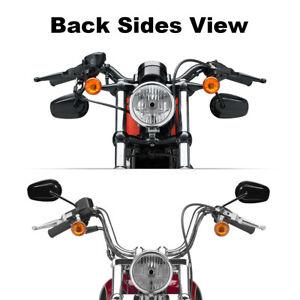 Motorrad-Schwarz-Rueckspiegel-Fuer-Harley-VRSCAW-V-ROD-Sportster-XL883-1200-Dyna