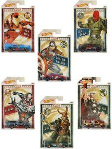 2019-Hot-Wheels-Marvel-Die-Cast-Auto-Set-6-Collezionali-tutti-scala-1-64