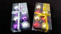 BOXES OF 8 CHRISTMAS TREE BAUBLES - ASSORTED FINISH XMAS HOME DECORATIONS