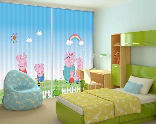 3D Pink Pig Sky 75 Blockout Photo Curtain Print Curtains Drapes Fabric Window AU
