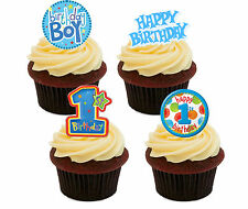 1st Birthday Boy Edible Cupcake Toppers,  Blue Stand-up Fairy Cake Decorations