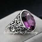 VINTAGE STL SILVER GP Cocktail RING Purple AMETHYST STONE Jewellery R2093
