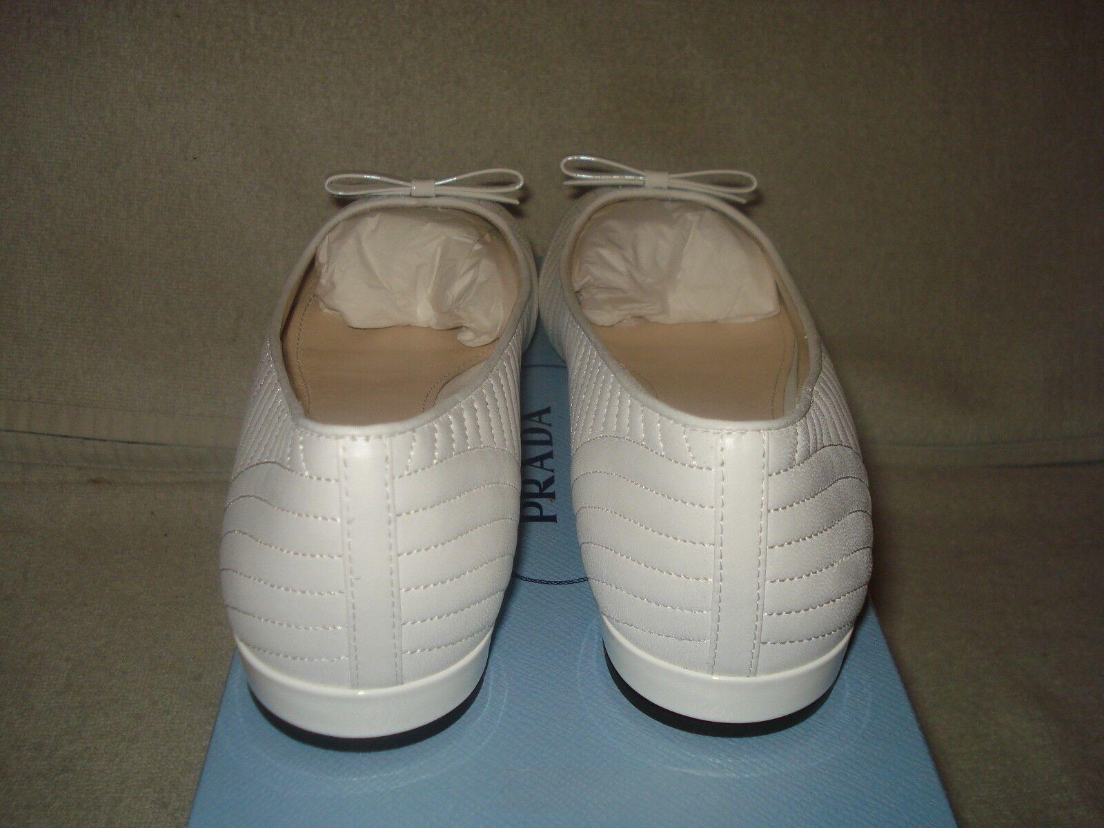 100% AUTH NEW WOMEN PRADA WHITE MATELASSE MATELASSE MATELASSE PATENT BALLET BALLERINA FLATS US 10 c39162
