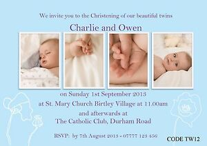 girls boys twins joint christening invitations cards with free