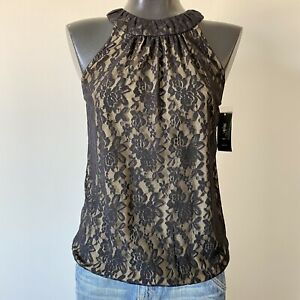 Small-Ladies-NWT-STYLE-amp-CO-Macys-Black-Lace-Sleeveless-Lined-Blouse-Top