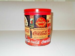 Details about VINTAGE COCA - COLA TIN CONTAINER, FEATURES OLD COCA - COLA  AD'S