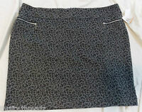 3461 Womens 89th & Madison Grey & Black Leopard Print Skirt, Size 24w 24 W