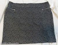 3461 Womens 89th & Madison Grey & Black Leopard Print Skirt, Size 24w 24 W