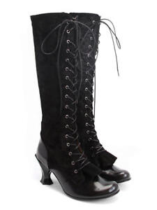 Goth Lace Black Boots 6 Knee up 39 Velazquez Gothic Steampunk 8 Fluevog Baroque Oxqgpp